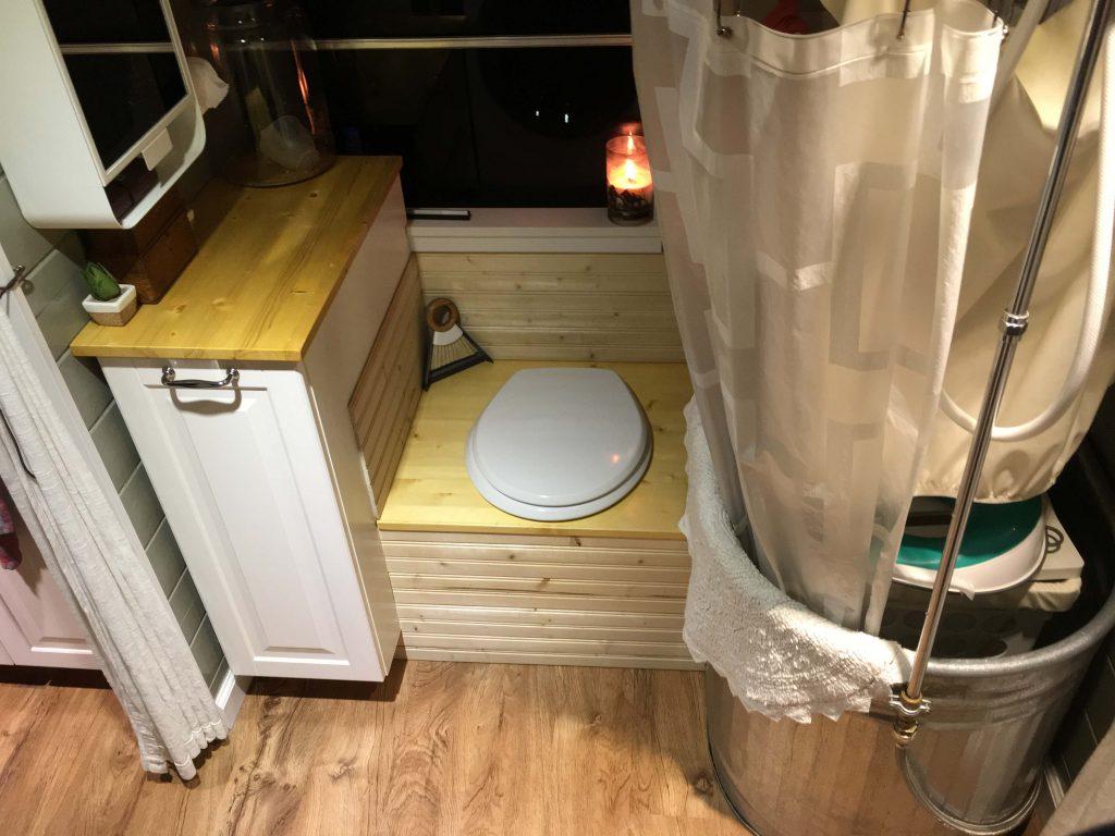 The bathroom of a school bus conversion