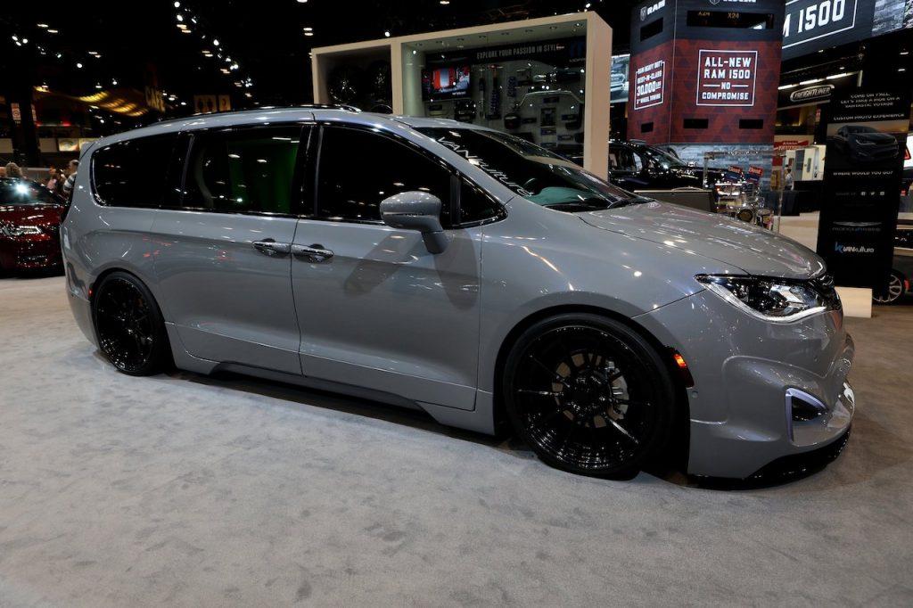 A dark gray Chrysler Pacifica hybrid on display