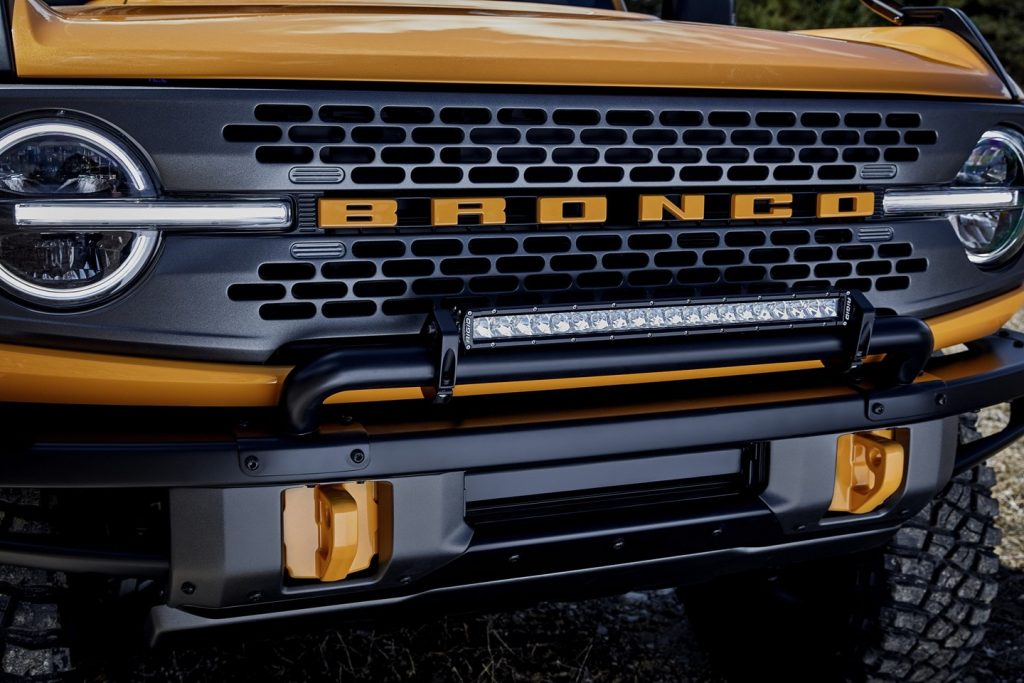 The grille of the Bronco, with the word written across the fron