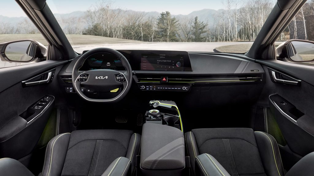 The interior of the Kia EV6 with a large infotainment screen