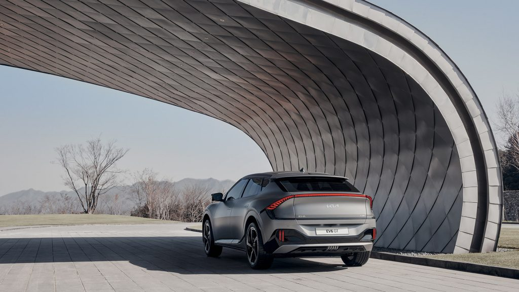 The SUV-like rear of the EV6