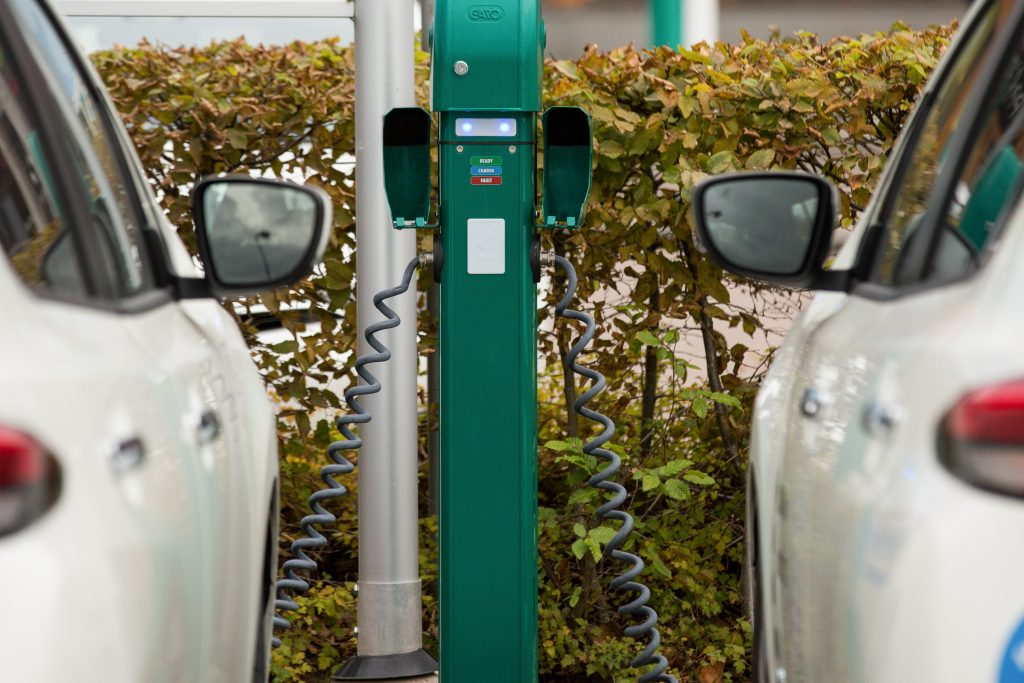 Two white electric vehicles charging side by side