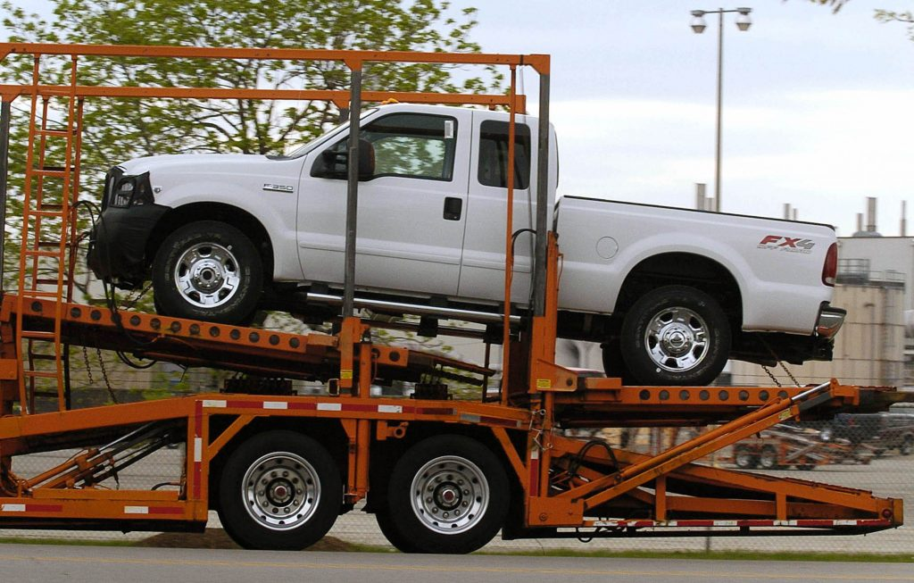 A white Ford F-350 pickup truck on the the way out of the Kentucky plant