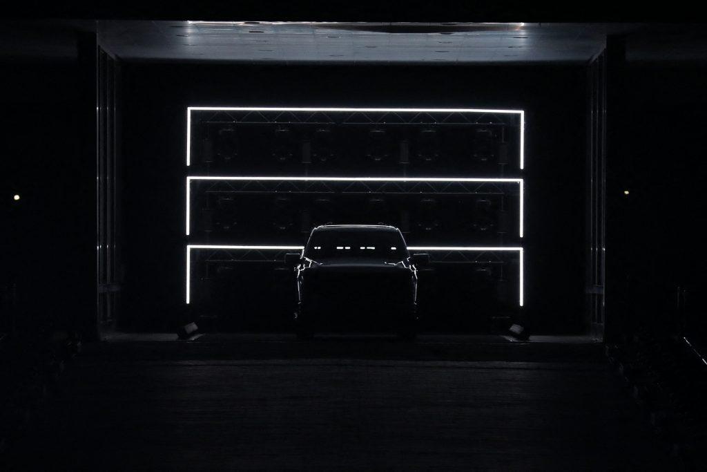 A backlit Ford F-150 Lightning