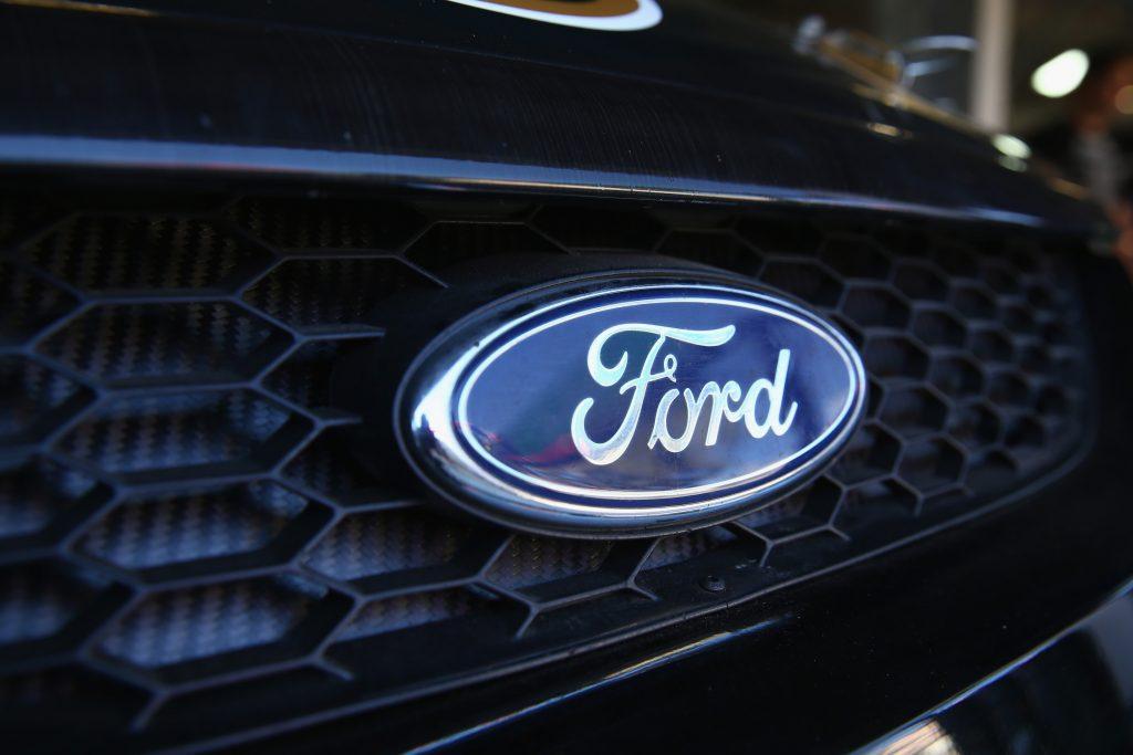 Blue oval Ford emblem on grille