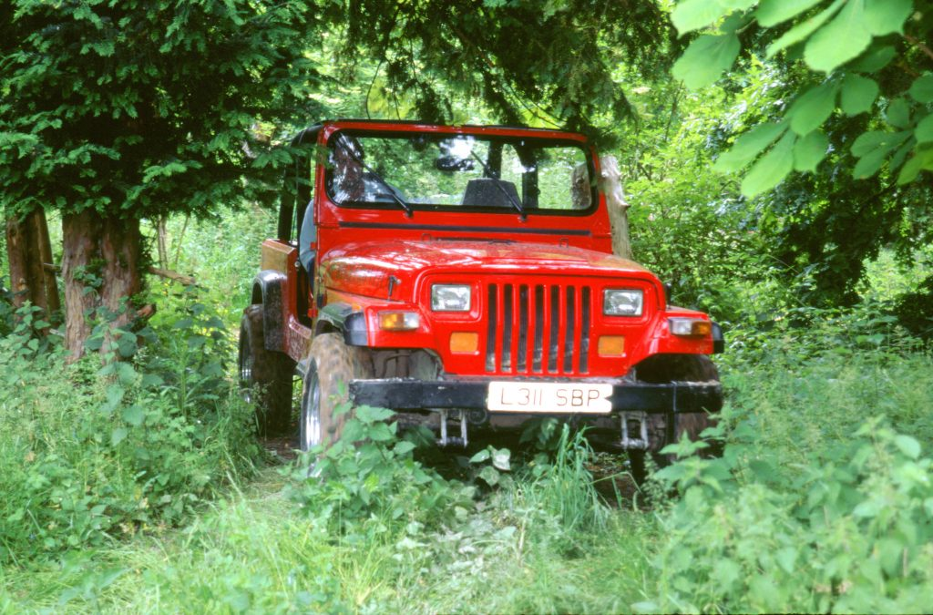A red Jeep Wrangler SUV parked in trees