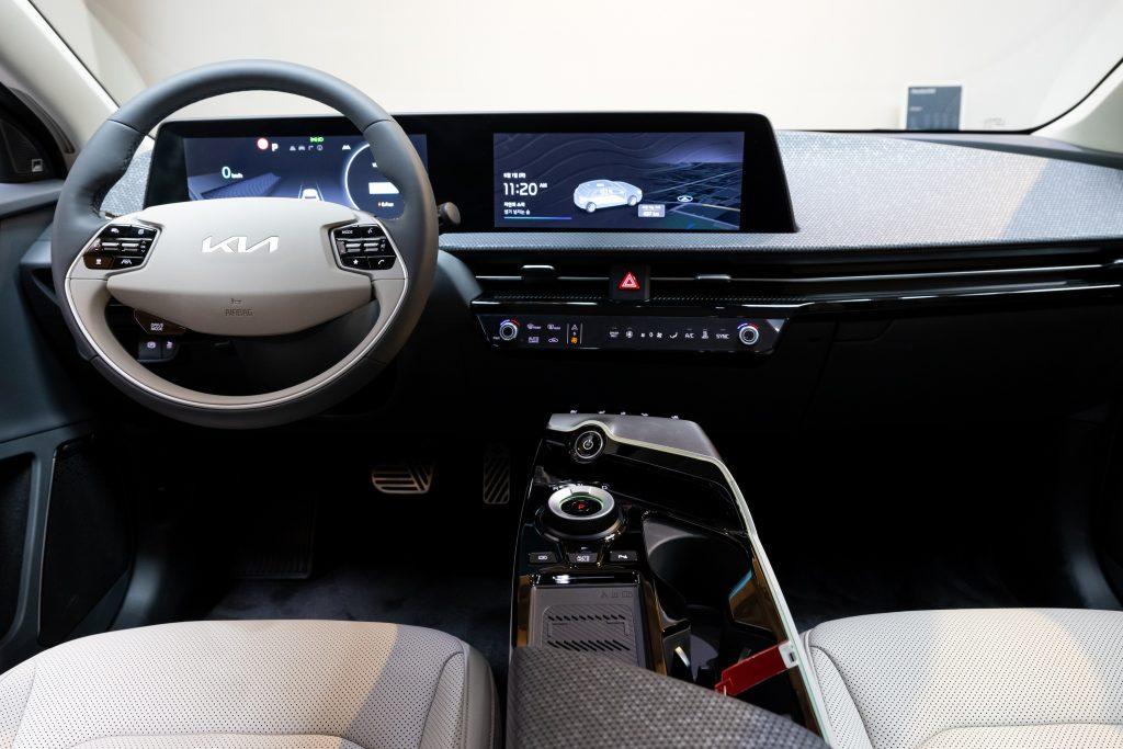 An interior shot of the futuristic 2022 Kia EV6