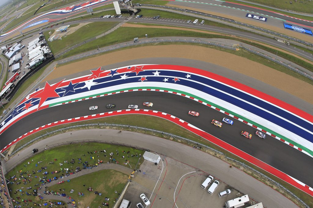 A race track of the Texas Grand Prix NASCAR Cup
