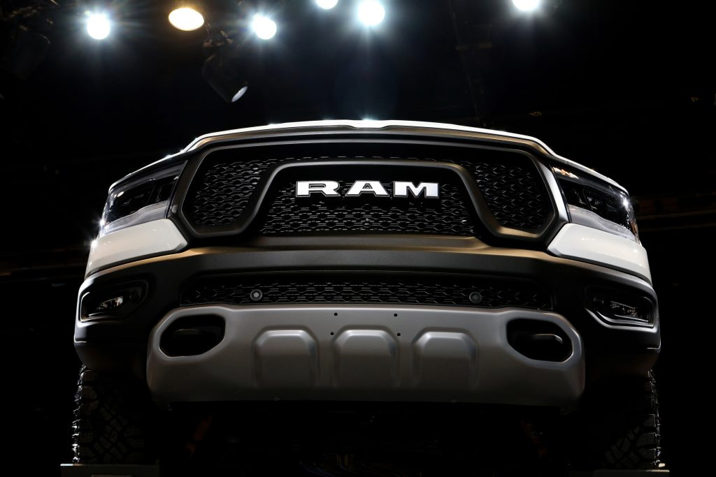 The front grille of a Ram 2500 pickup truck