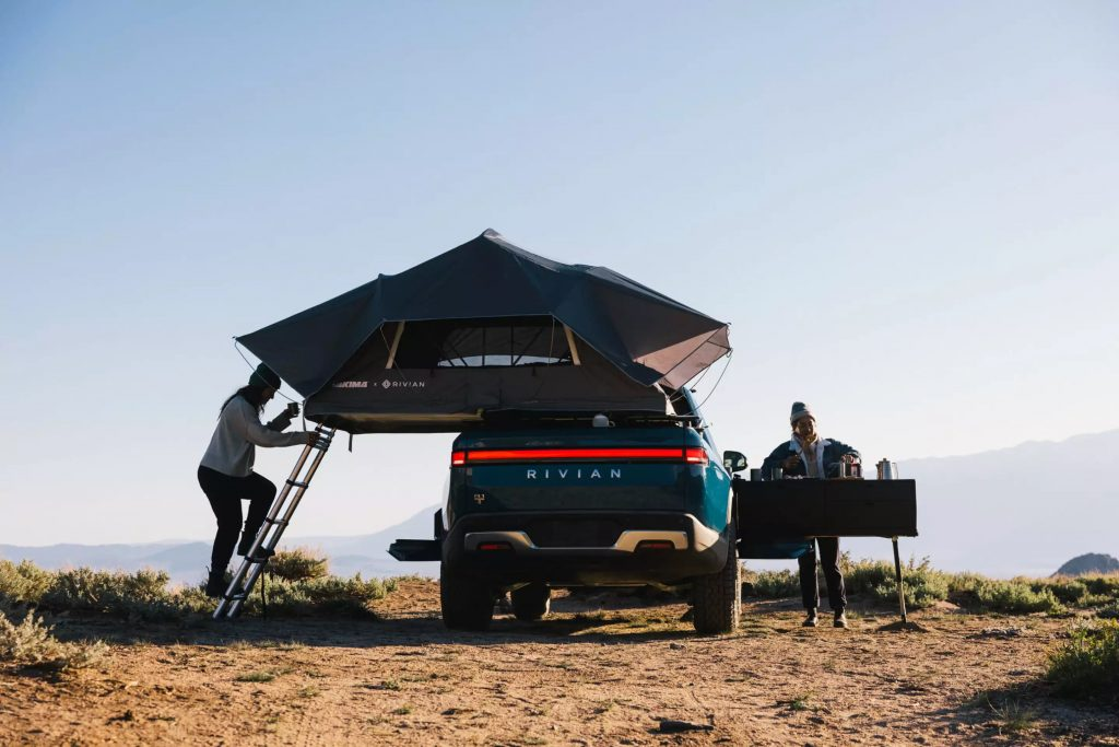 Rivian R1T is the coolest electric truck with its camper van mode featuring the Adventure Gear line.