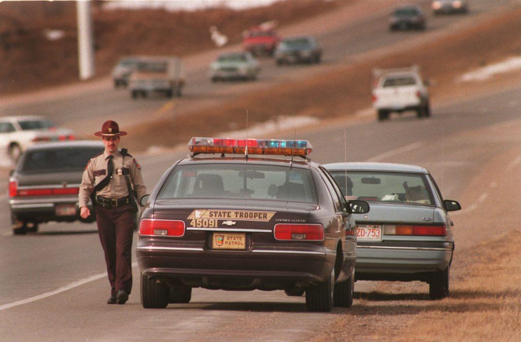 Speeding ticket being issued by Minnesota State Patrol trooper