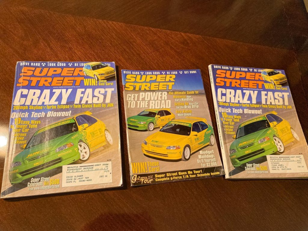 A picture of three super street magazines with The Jun Auto Civic