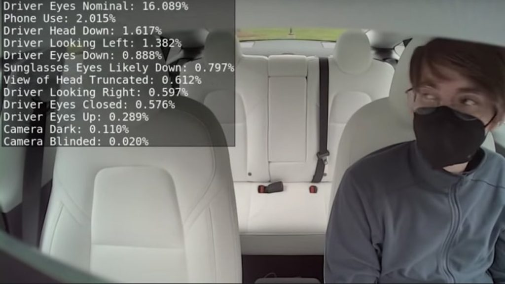 screenshot of Tesla Autopilot using camera to watch drivers for added security for autopilot.