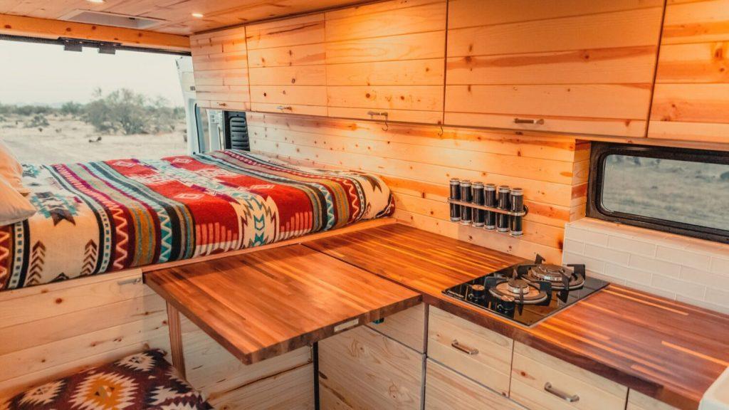 inside of the Tommy Campervans Hotshot Adventure Truck
