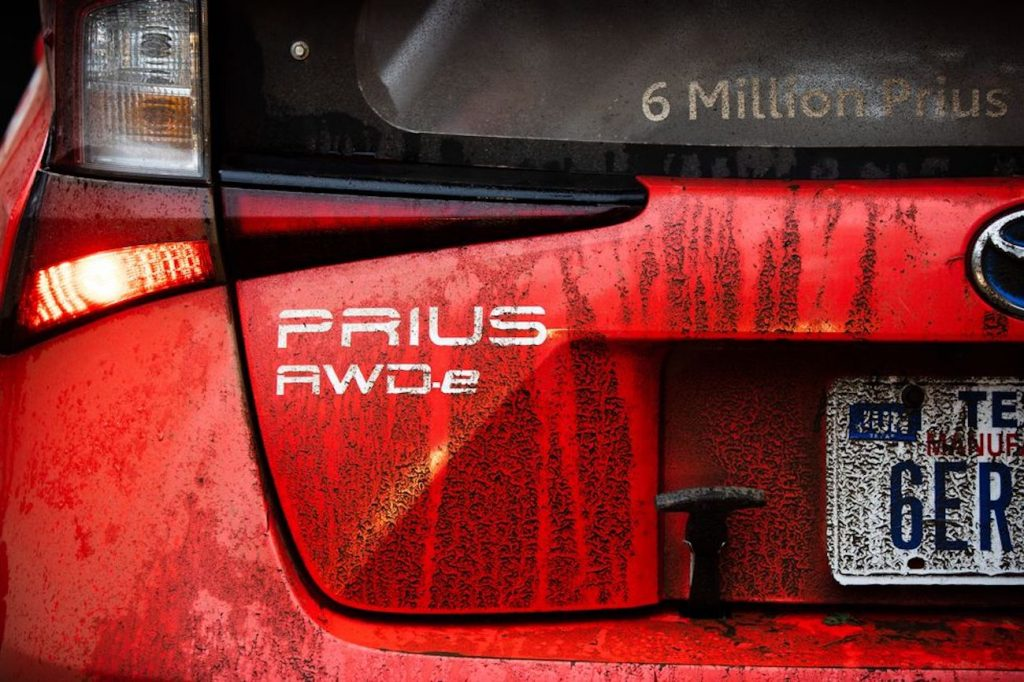 up-close shot of the badge for the Prius AWD-e