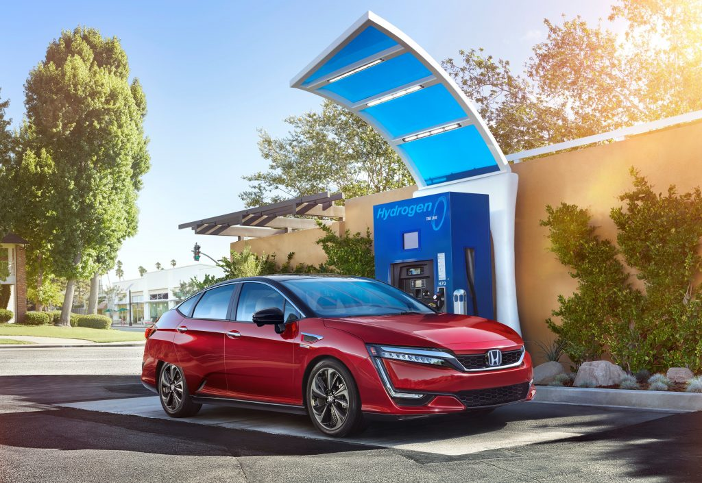 Honda Clarity fuel cell car stopping for hydrogen