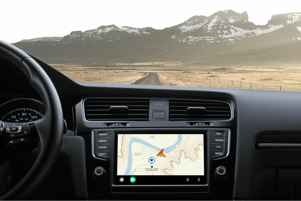 The Gaia GPS map on Android Auto