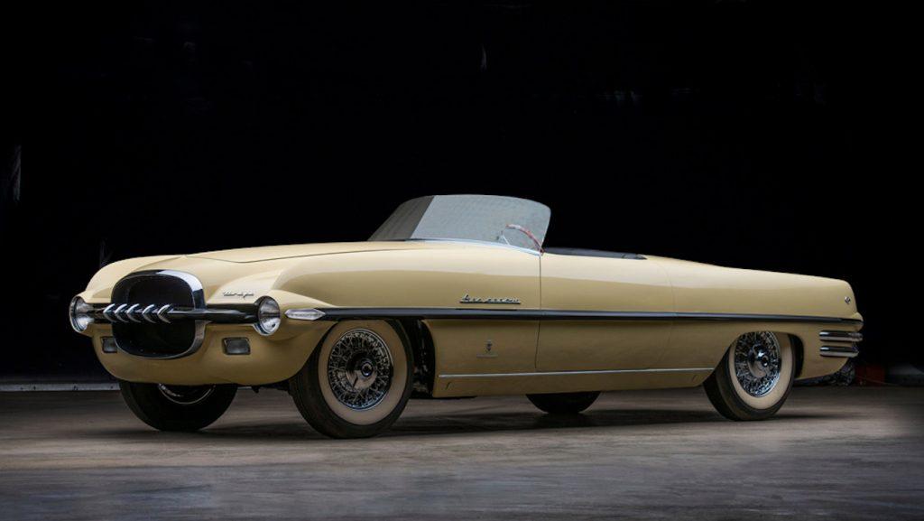 Vintage Dodge Firearrow II Concept car in a dark room