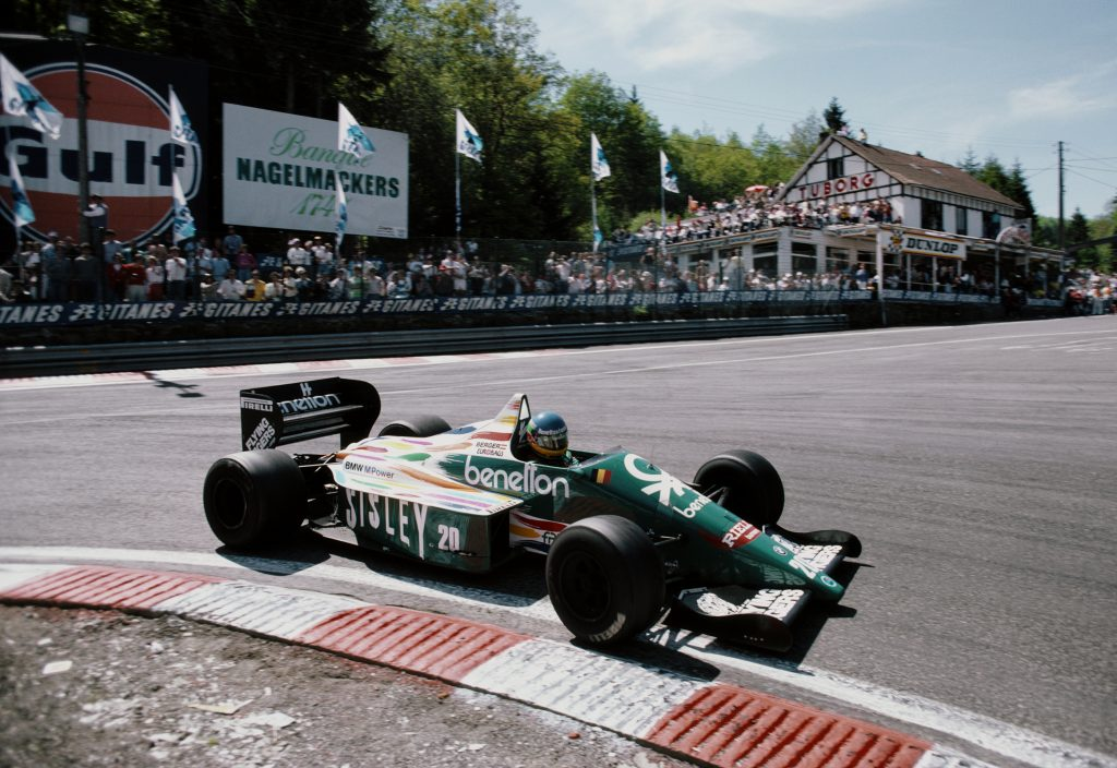 Gerhard Berger drives a BMW M12 turbo Formula 1 car in the 1986 Belgian Grand Prix