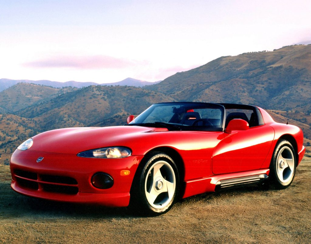 A red 1992 Dodge Viper RT/10 on a mountain road