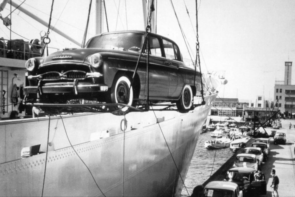 A Toyota Crown Being Unloaded From Ship