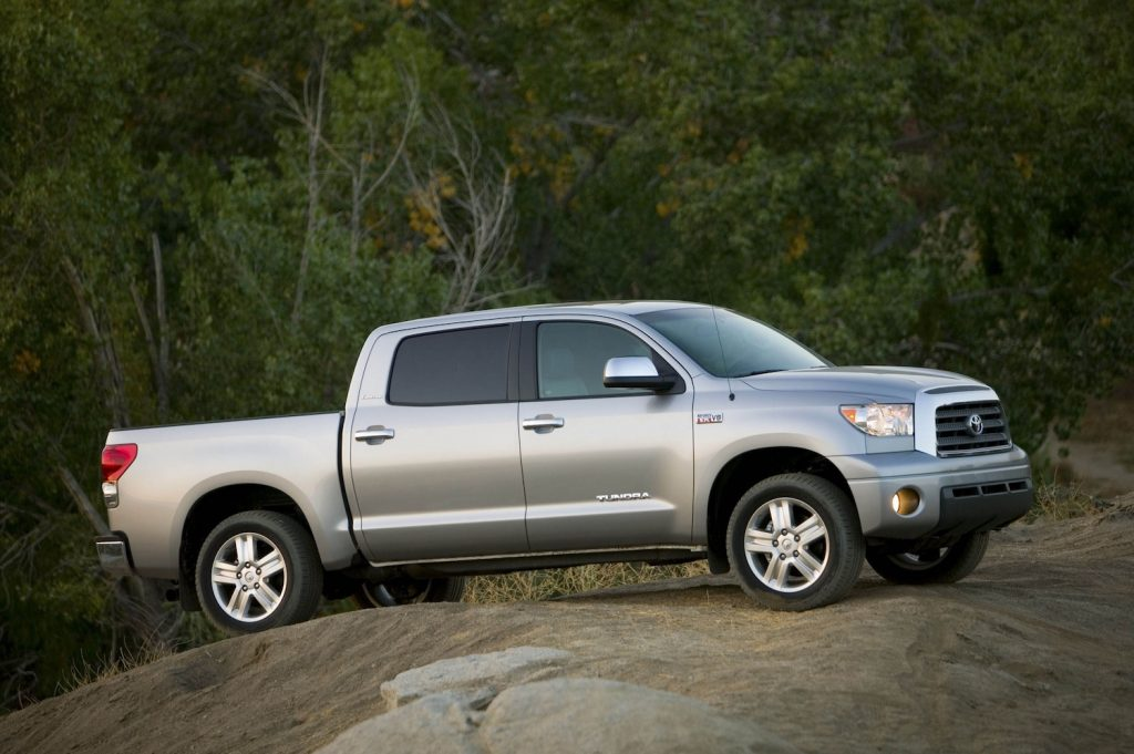 A silver 2007 Toyota Tundra climbing rocks, the 2007 Tundra is a used Toyota Truck