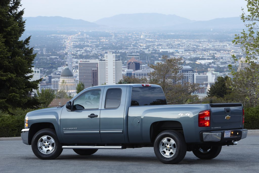 A 2013 Chevrolet Silverado LT Extended Cab Pickup parked, the 2013 Chevy Silverado is a used full-size truck