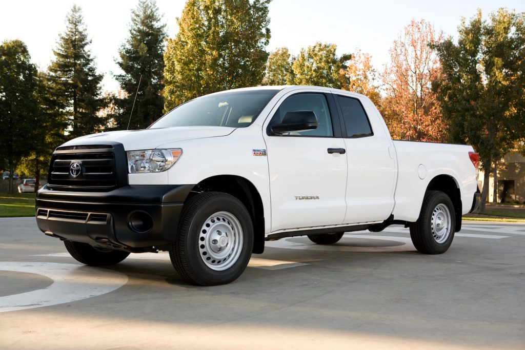 A white 2013 Toyota Tundra parked outdoors