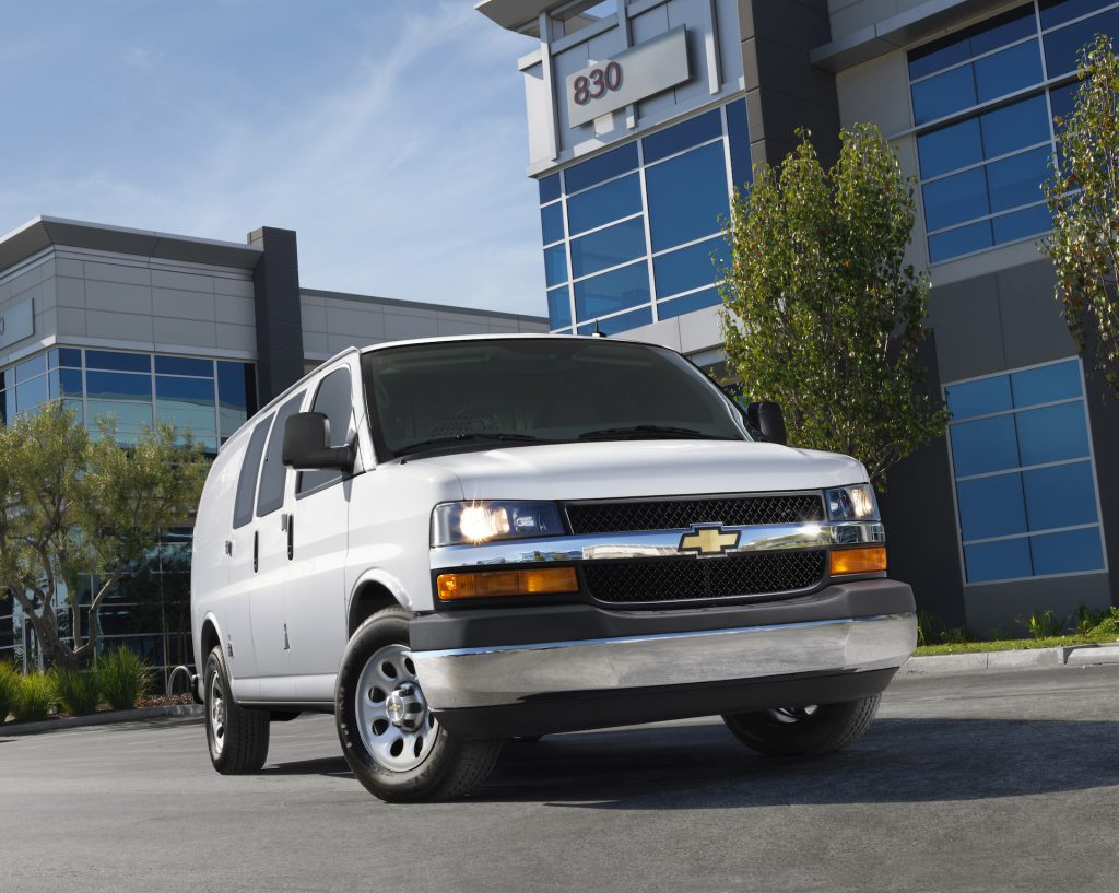 An imge of a Chevrolet Express Cargo Van parked outdoors.