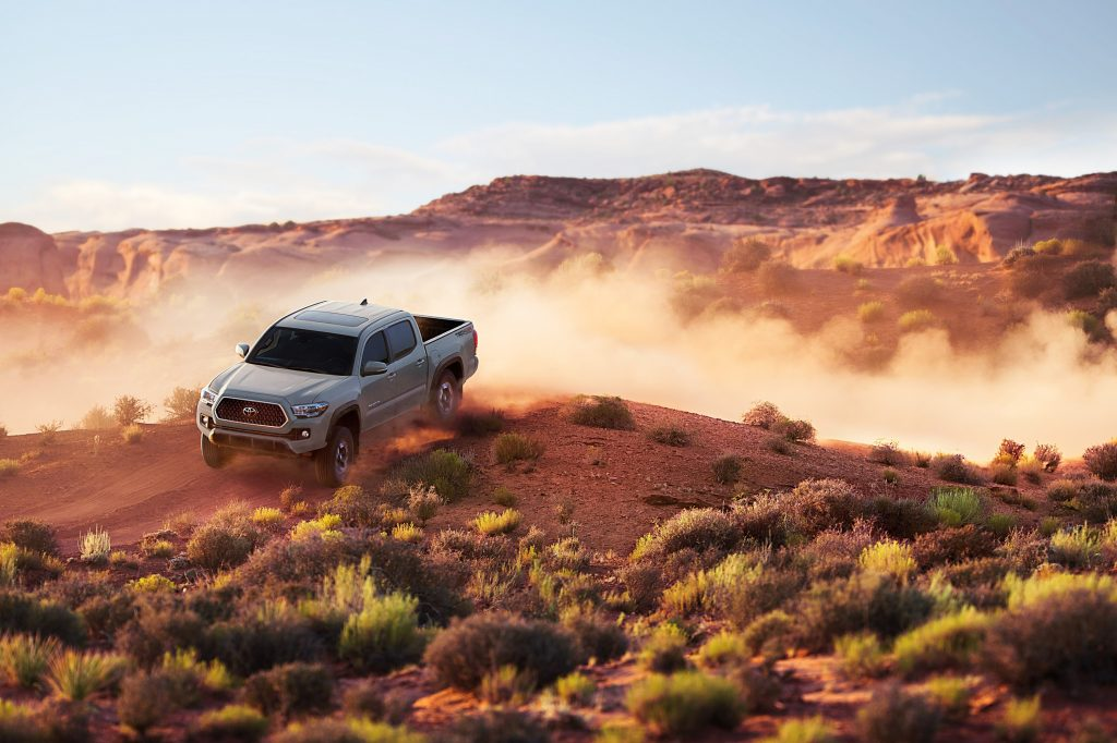 The 2018 Tacoma catches some air off-road
