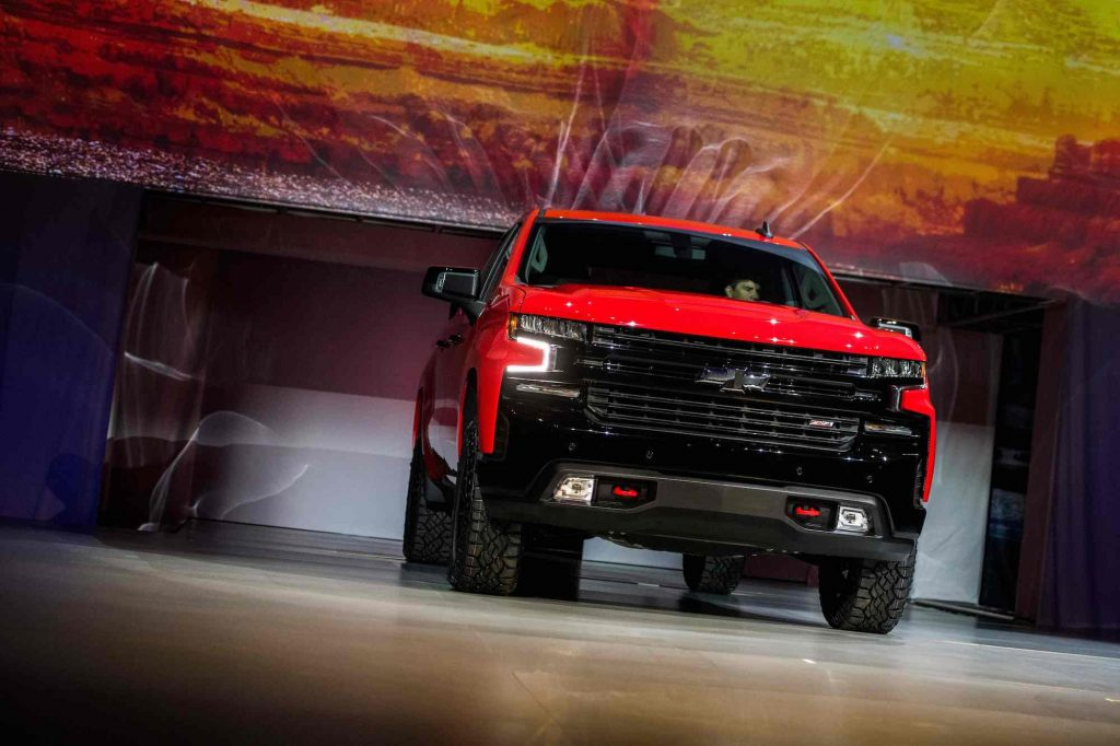 A raed 2019 Chevrolet Silverado onstage at the 2018 North American International Auto Show in Detroit in January 2018