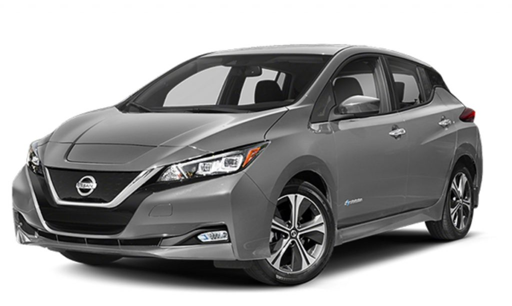 A gray 2019 Nissan Leaf against a white background.