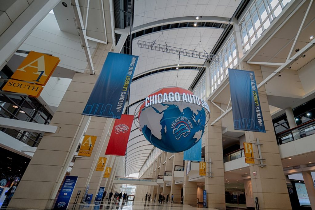 The main entrance hall of the 2020 Chicago Auto Show with banners