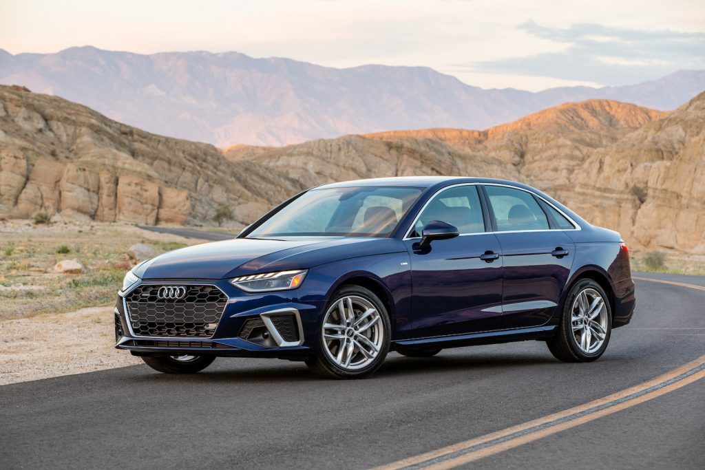 A 2021 Audi A4 parked in the mountains, the 2021 Audi A4 is one of the best luxury sedans under $40K