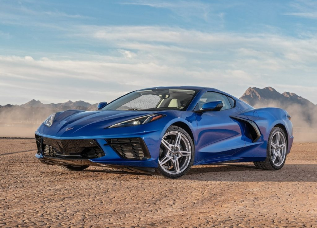 A blue 2021 Chevrolet Corvette Stingray in the desert