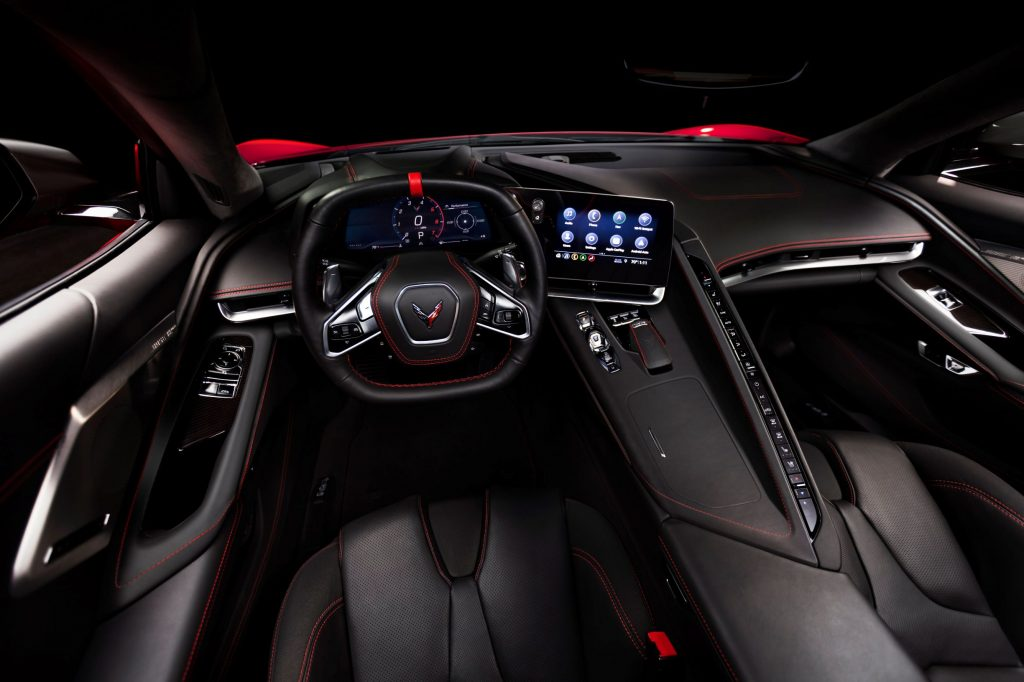 The red-stitched black-leather interior of a 2021 Chevrolet Corvette Stingray