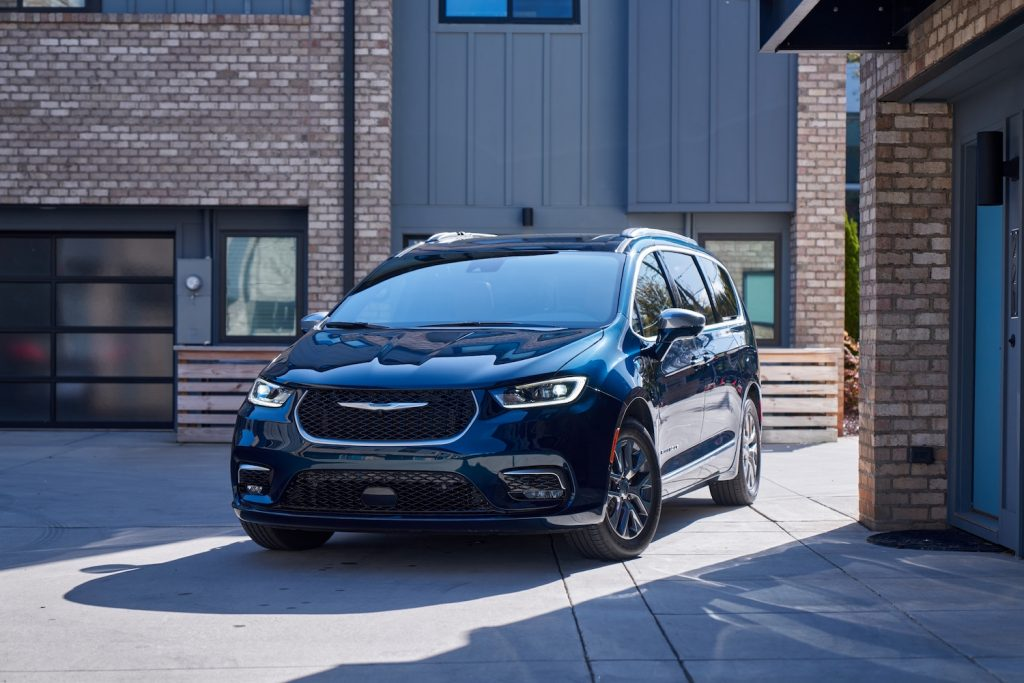 A 2021 Chrysler Pacifica parked in a driveway