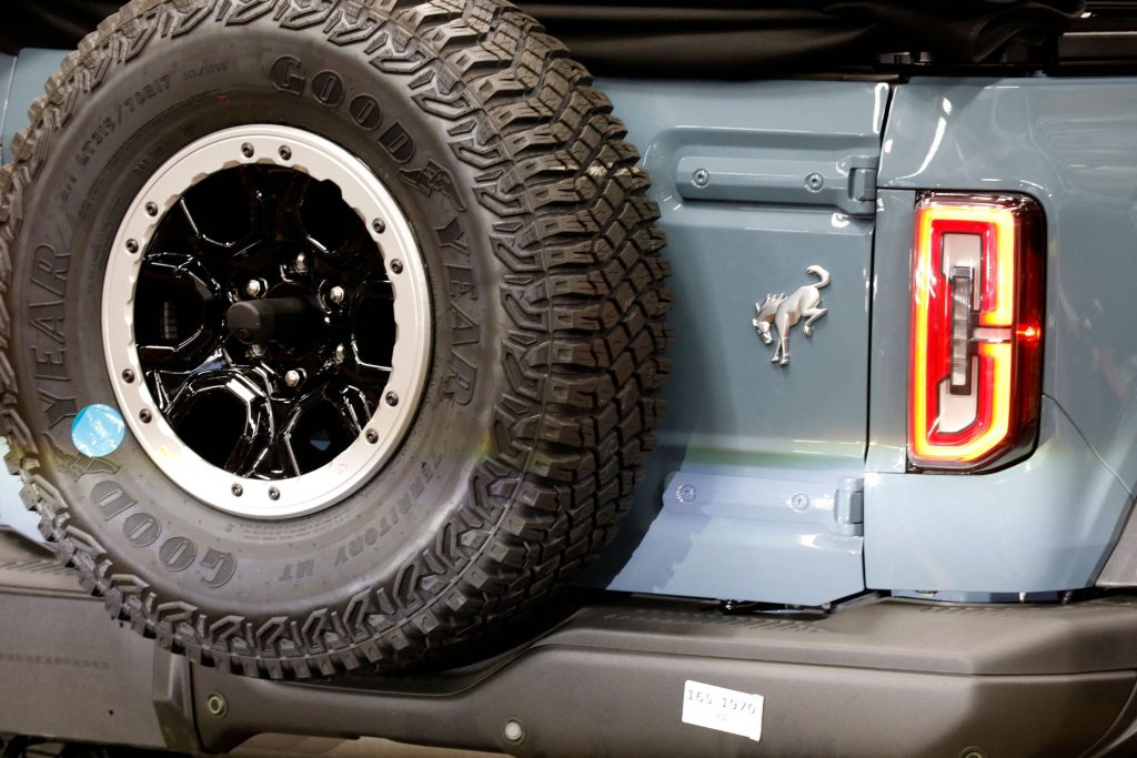 a bucking bronco emblem on a 2021 Ford Bronco