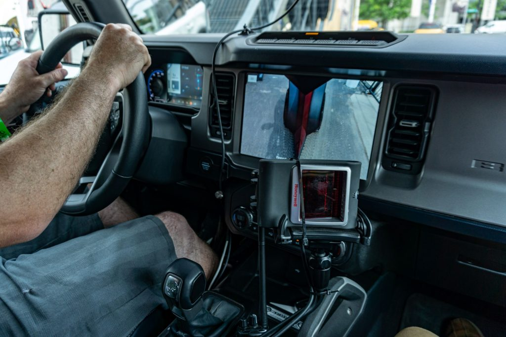 The dashboard and center console in a 2021 Ford Bronco First Edition