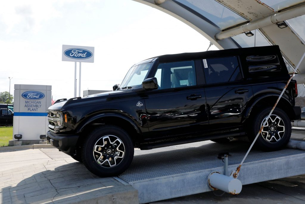 A black 2021 Ford Bronco SUV on display outdoors
