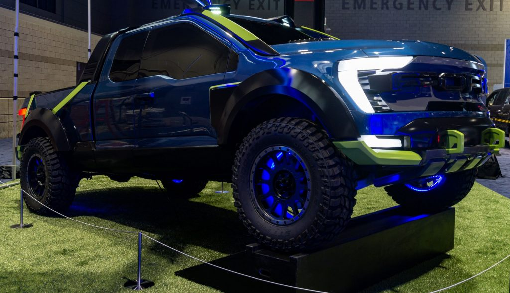 The front 3/4 view of the blue 2021 Ford F-150 Rocket League Edition IRL