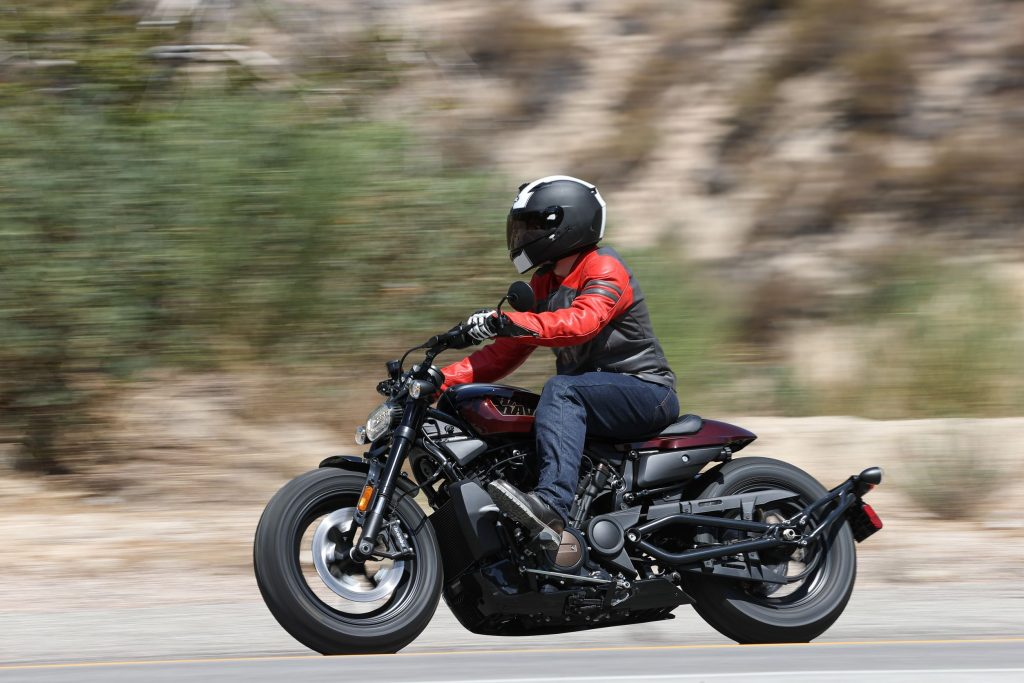 Riding a maroon 2021 Harley-Davidson Sportster S on the Angeles Crest Highway
