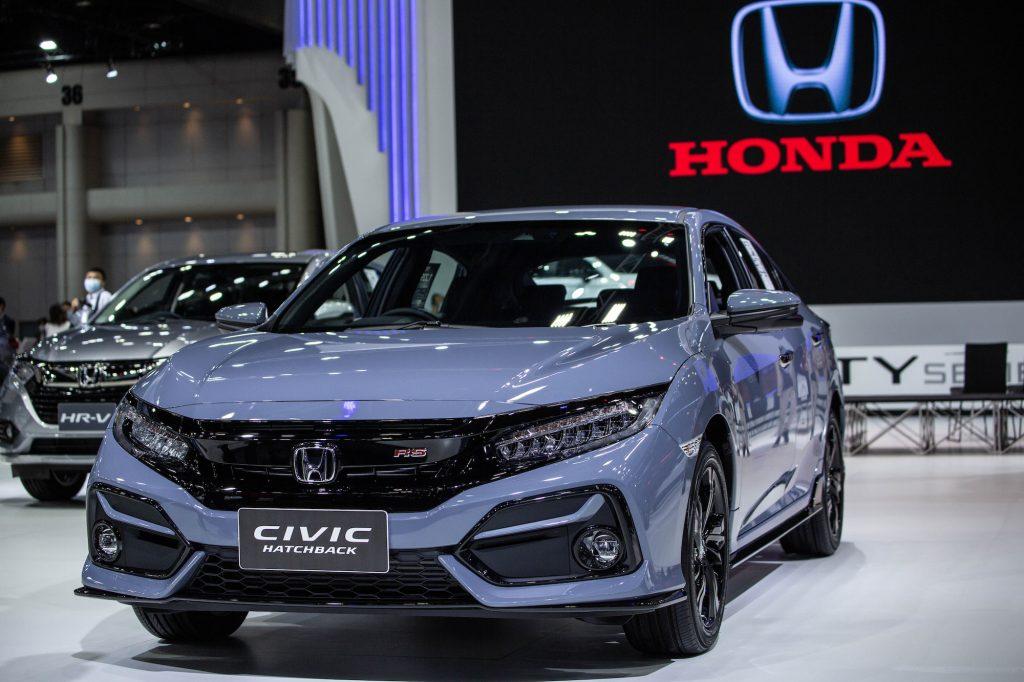 A grayish-blue 2021 Honda Civic Hatchback at the Bangkok International Motor Show in March 2021