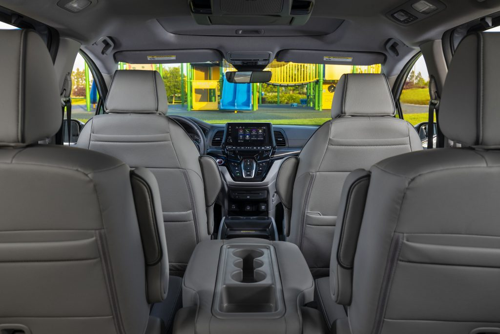 View from the back seat of the cabin of a new Honda Odyssey