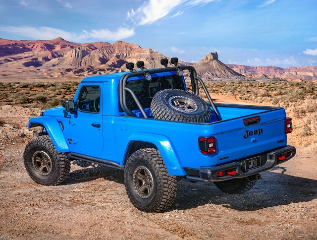 The Jeep J6 Concept two-door truck from the rear