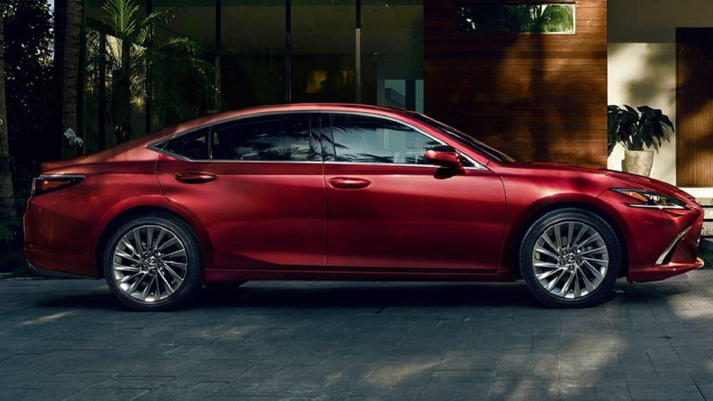 A red 2021 Lexus ES Hybrid.