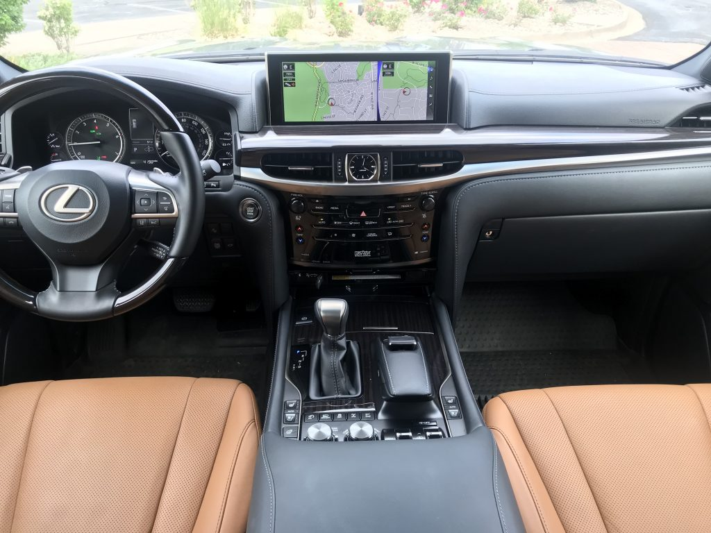 Interior shot of the 2021 Lexus LX 570 as it sits in a parking lot driveway for our full review.