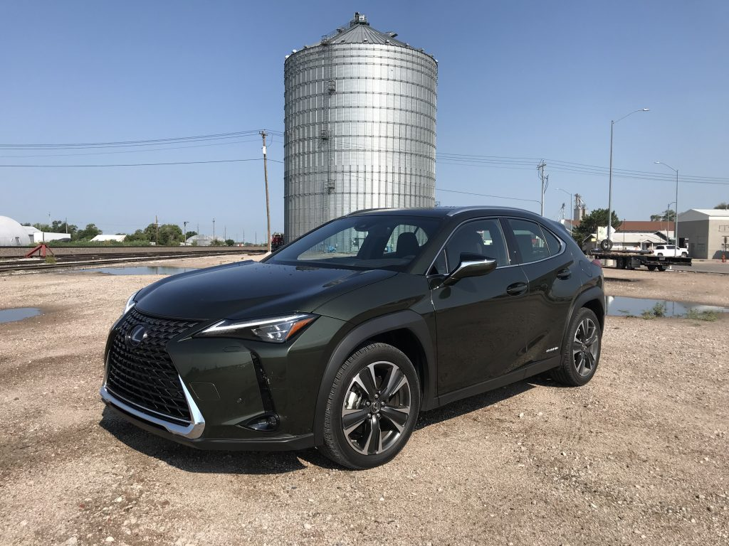 2021 Lexus UX 250h in front of a silo