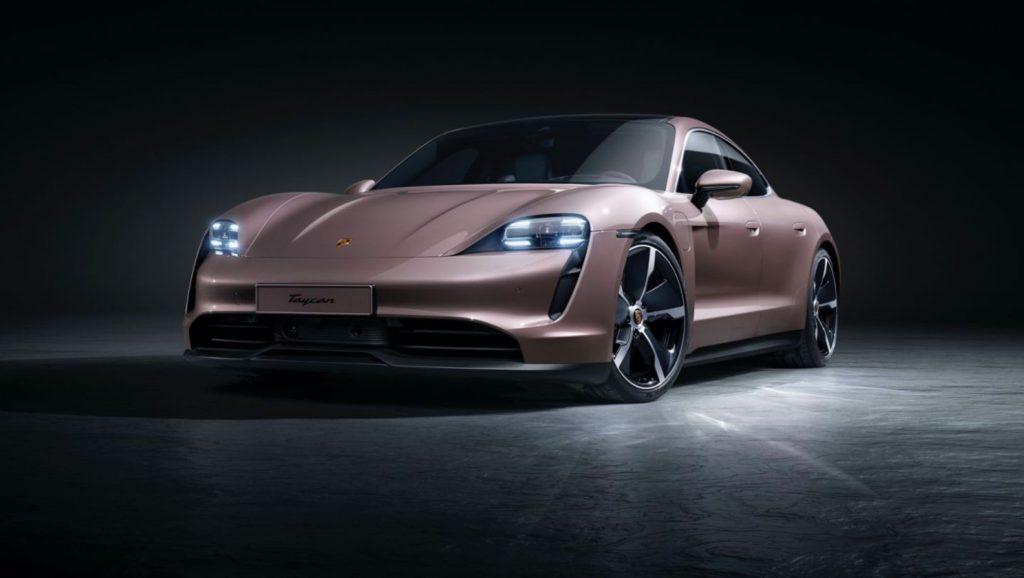 The 2021 Porsche Taycan debut showcase images features a champagne color option