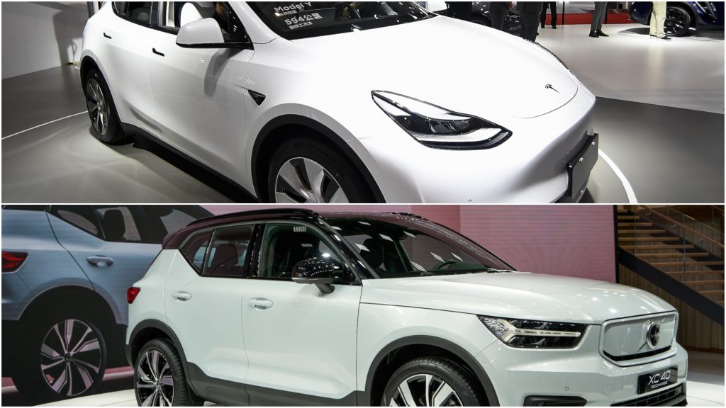 A photo collage of a 2021 Tesla Model Y above a 2021 Volvo XC40 Recharge electric crossover SUV